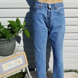 Vintage Levi's 501 high waisted cropped raw hem